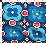 Blumen, Skandinavisch, Retro, Blau, 1970Er Jahre Stoffe -