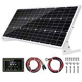 Topsolar Kit de panel solar de 100 W 12 V cargador de batería 100 W 12 V sistema de rejilla para casas rodantes + controlador de carga solar de 20 A + cables solares + soportes para montaje