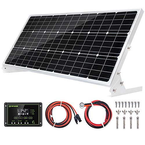 Topsolar 100W 12V Solar Panel Kit Battery Charger 100 Watt 12 Volt Off Grid System for Homes RV Boat + 20A Solar Charge Controller + Solar Cables + Brackets for Mounting