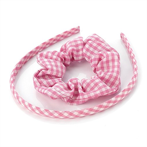 Pink Gingham Check Alice Band & Scrunchie Set Hair Band Headband