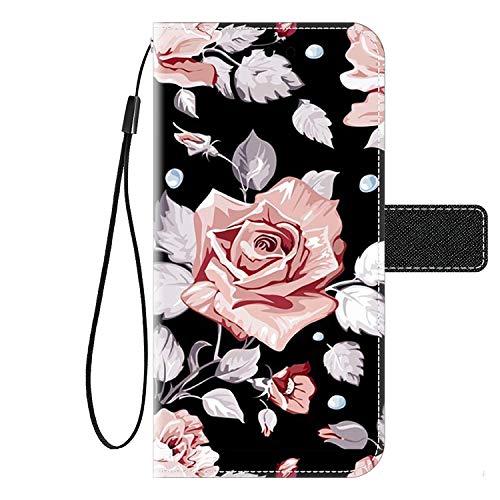 Kingyoe Klapptasche Kompatibel mit LG K50S Handyhülle Handytasche Brieftasche Etui Cover,Lederhülle Schutzhülle für LG K50S Hülle Leder Flip Hülle Wallet Tasche,Rose