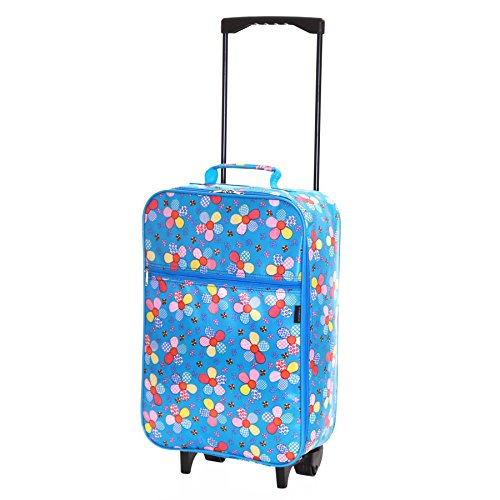 Slimbridge Kids Cabin Carry-on Hand Luggage Suitcase Bag Ultra Lightweight 55 cm 0.95 kg 27 litres 2 Wheels, Barcelona Blue Flowers