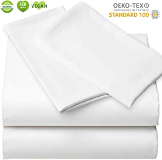 Bamboo Sheet Set - Organic Lyocell 4pc Set Queen, White, Ultra Soft Luxury Sheets Like Sleeping on a Cloud Sateen Weave, Cooling Bed Sheets, 1 Fitted Sheet Deep Pocket, 1 Flat, 2 Zippered Pillowcase