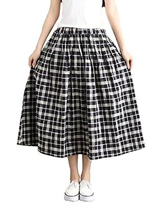 Yimoon Women's Retro Plaid Pleated Swing Midi Skirt