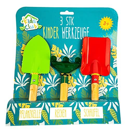 Caja de arena para niños, miniherramientas de jardín para niños y niñas a partir de 3 años, pala, rastrillo y pala
