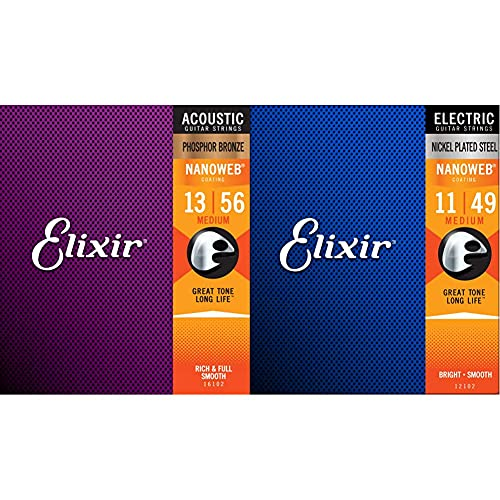 Elixir Cuerdas de guitarra acústica de bronce fosforado con recubrimiento NANOWEB, calibre...