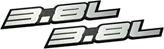 2 x (pair/set) 3.8L Liter Embossed SILVER on Black on Highly Polished Silver Real Aluminum Auto Emblem Badge Nameplate for Buick Regal LeSabre Century Riviera Lacrosse Chevy Chevrolet Monte Carlo Pontiac Trans Am Turbo Ford Granada F-Series F150 F-150 Thunderbird Mustang LTD Taurus Mercury Cougar Capri Marquis Sable Lincoln Continental