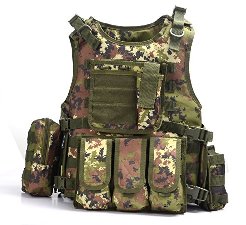 YAKEDA Ventilatori Army Tactical Vest CS Campo SWAT Tactical Vest dell'Esercito all'aperto Vest CS Gioco Vest Cosplay di Counter Strike Gioco Vest-322 ( Italia Camouflage)