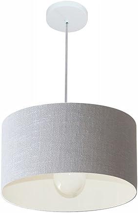 Lustre Pendente Cilíndrico Cúpula Tecido 40x21 cm, Vivare Iluminação, Pendente4031 CZ, Cinza, Médio