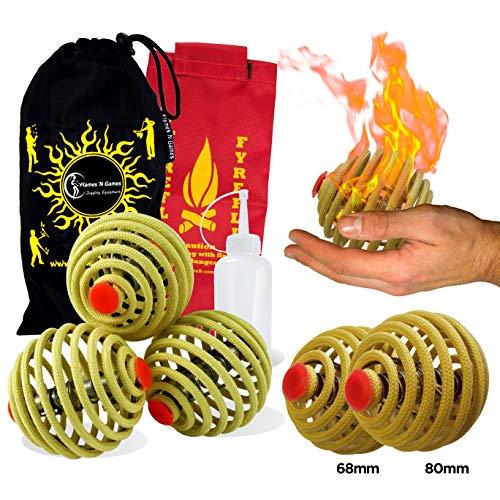 3X Feuer Jonglierbälle FyreFli (80 mm) Pro Feuer Jonglierball Set mit 3 & Brennstoffflasche + Reisetasche.