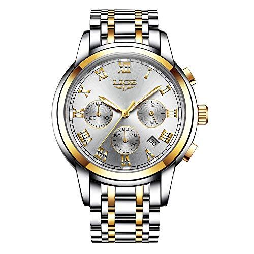 LIGE Relojes para Hombre Impermeable Acero Inoxidable Cuarzo Analógico Reloj Informal Negocios Reloj de Pulsera