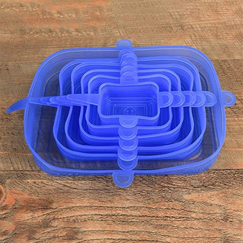 HDMJ Multipurpose 6pcs Silicone Stretch Lids Universal Lid Silicone Bowl Pot Lid Silicone Cover Pan Cooking Food Fresh Cover Microwave Cover for refrigerator food preservation (Color : Blue)