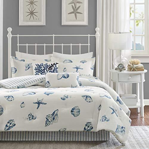 4 Piece White Blue Beach Themed Comforter FULL SIZE Set, Sea Shell Star Fish Bedding, Coastal Ocean Pattern, Life Seashells Nautical Summer House Cottage, Reversible Stripes, Lines Pattern Boho Chic
