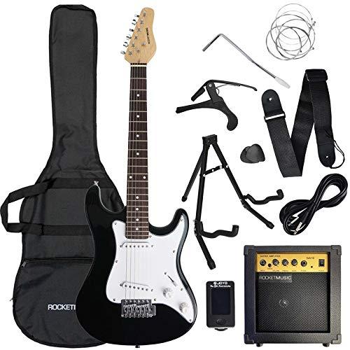3rd Avenue Conjunto de guitarra eléctrica de iniciación de 3/4 con amplificador, afinador, cable, soporte, funda de transporte, correa, púas de repuesto y cejilla, Negro