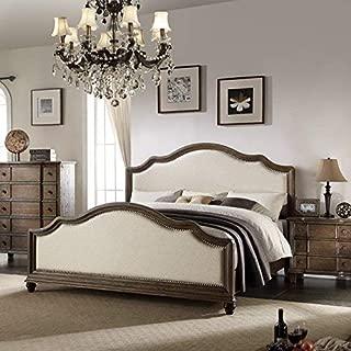 Acme Baudouin Eastern King Bed, Beige Linen/Weathered Oak