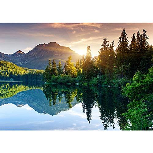 Fototapete Wald - ALLE WALDMOTIVE auf einen Blick ! Vlies PREMIUM PLUS - 350x245 cm - MOUNTAIN LAKE VIEW - Berge See Sonnenuntergang Romantisch Bäume Wald - no. 051