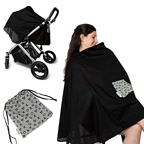 Milky Chic Nursing and Breastfeeding Poncho - Patent Pending 360 Full Coverage Wired Nursing Cover and Apron - Breathable, Soft Cotton - Carseat, Stroller Canopy - Multifunctional Baby Shower Gifts