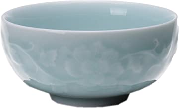 Chinese Rice Bowl 10oz Celadon Dinnerware Engraved Peony 4.5Inch Porcelain(1, Sky Blue)