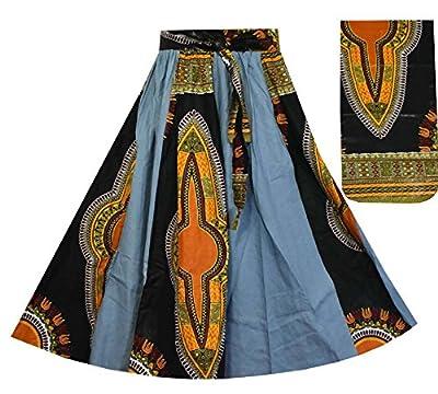 Decoraapparel Women's Denim Skirt Long Dashiki Maxi Skirt High Waist Skirt Plus Size Blue