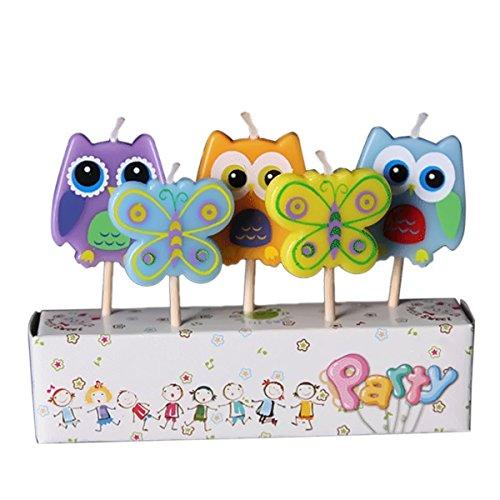 Gosear 5 Piezas Parafina Decoración de Vela de Torta Fiesta de Cumpleaños con Palo de Madera Dibujos Animados para Niños (Buho y Mariposa)