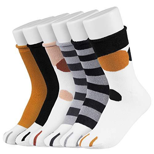 Easycosy Cat Paw Socks -5/6 Paar Cat Claw Socks Design Plüsch Gemütliche Slipper Socke Niedliche Socken Wintersocken Indoor für Damen Lady Girls (cotton 6 style)