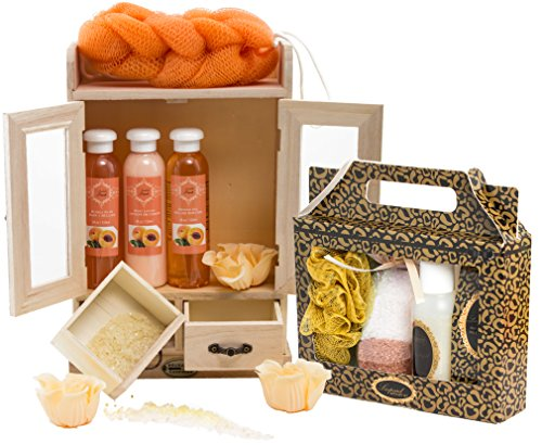 BRUBAKER set benessere beauty in comodo armadietto in legno – 15 pezzi al profumo di pesca e vaniglia