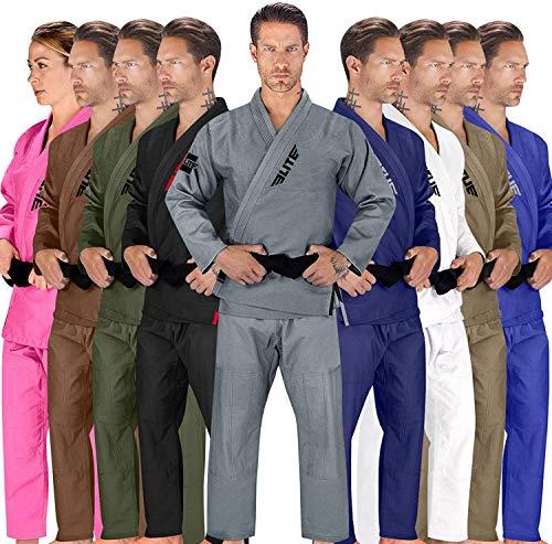 Elite Sports BJJ GI for Men IBJJF Kimono BJJ Jiujitsu GIS W/Preshrunk Fabric & Free Belt (See Special Sizing Guide) (Premium Gray, Size 3)