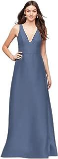 V-Neck Mikado Bridesmaid Dress with Side Pleats Style F19734
