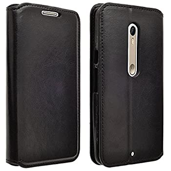 Droid Maxx 2 Case Customerfirst Droid Maxx 2 Wallet Case Luxury PU Leather Case Flip Cover Built-in Card Slots & Stand for Motorola Moto Droid Maxx 2- with 1 Emoji Key Chain  Leather Black