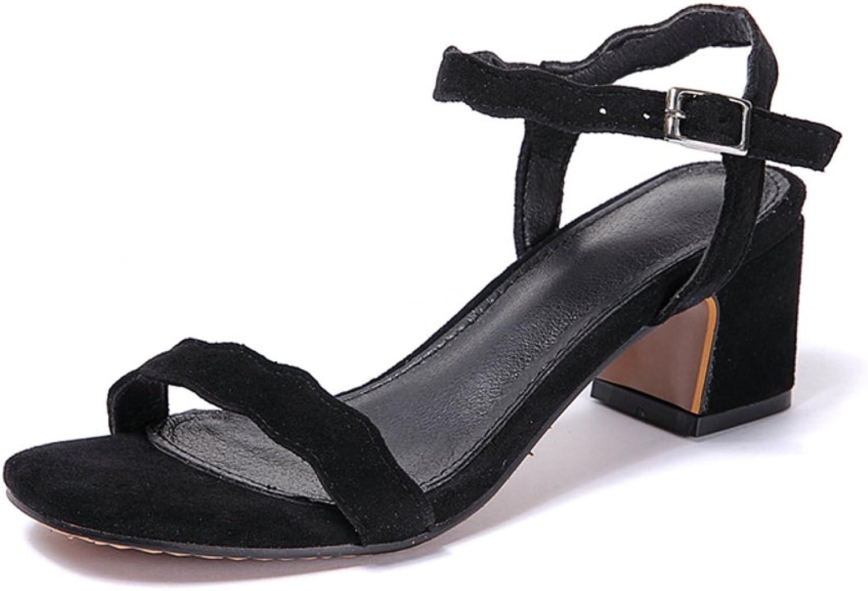 Weiwei Women's Fashion Summer Sandals, Buckle Medium Heel Sandals Rough & Black High Heels