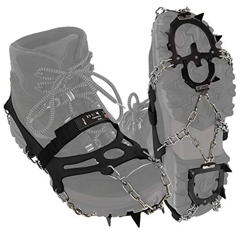ALPIDEX Grödel Steigeisen für Bergschuhe Schuhkrallen mit Edelstahlspikes 12 Zähne Schuhgröße 35-47 Crampons Klettern Bergsteigen Trekkking Winter Outdoor Schuhspikes, Größe:L, Farbe:Black
