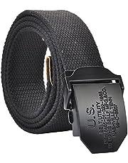 FALETO Los hombres de los pantalones vaqueros de tela correa de lona militar Cinturones con caja de regalo original, 110140cm (140 cm Negro)