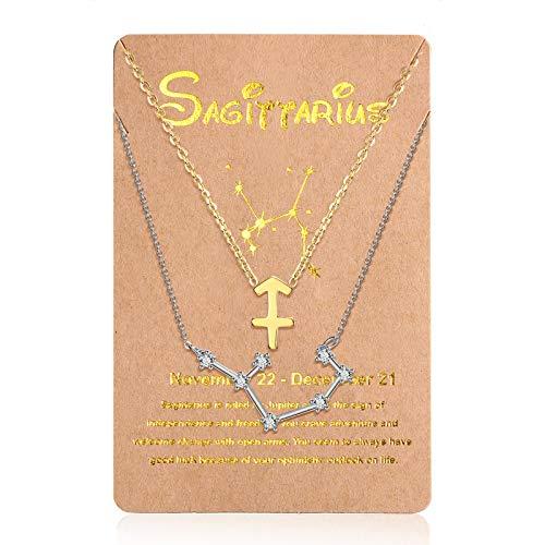 2 Collares de 12 Constelaciones Collar con Colgante de Zodiaco Constelación de Oro, Cadena de Señal de Horóscopo Astrológico de Plata con Tarjeta de Constelación para Mujer (Sagitario)