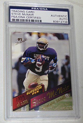Steve McNair Signed 1995 Oilers Titans Rookie Football Card RC Autograph - PSA/DNA Certified - Football Slabbed Autographed Rookie Cards