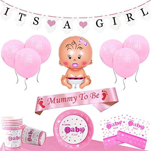 Baby Shower Decoracion Set - Para un Its a Girl Niña Fiesta (20 Personas)