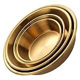 YARNOW 4 Unidades de Cuencos de Acero Inoxidable Cuencos Redondos para Condimentos Cuencos para Sushi Platillos Mini Plato de Aperitivo Platos para Condimentos 4 Tamaños de Oro