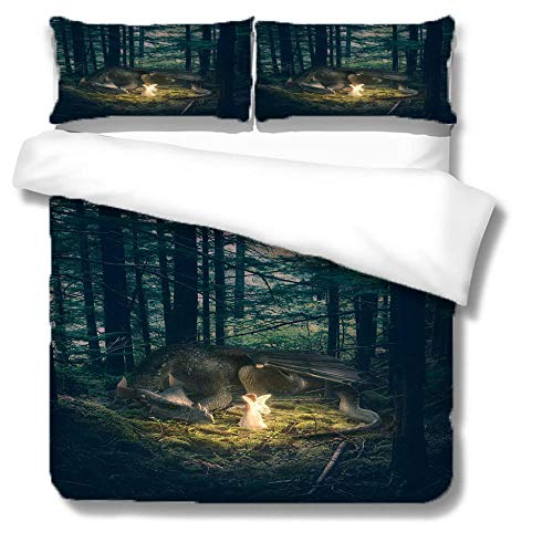 Qiuka Long Duvet Cover with Pillow Case,Angel forest tree Double Size 3pcs-200x200cm + 2x 48x74cm Pillowcases,Polyester Microfibre Bedding Set Easy Care