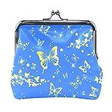 Bonipe - Monedero de piel con diseño de mariposas y flores para mujeres y niñas