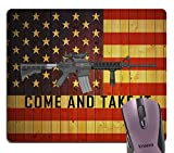 Knseva Cool Ar-15 Gun Come and Take It Quote Mouse Pad, Vintage Wood USA Flag Backround Mouse Pads