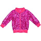 Cilucu Kids Jackets Girls Boys Sequin Zipper Coat Jacket for Toddler Birthday Christmas Clothes Bomber Hot Pink 7-8years