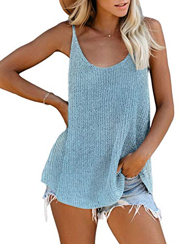 FIYOTE Damen Hemd Casual Bluse Top Chiffon Oberteile V-Ausschnitt T-Shirt Top Sommer Top Tank Tunika Hellblau M