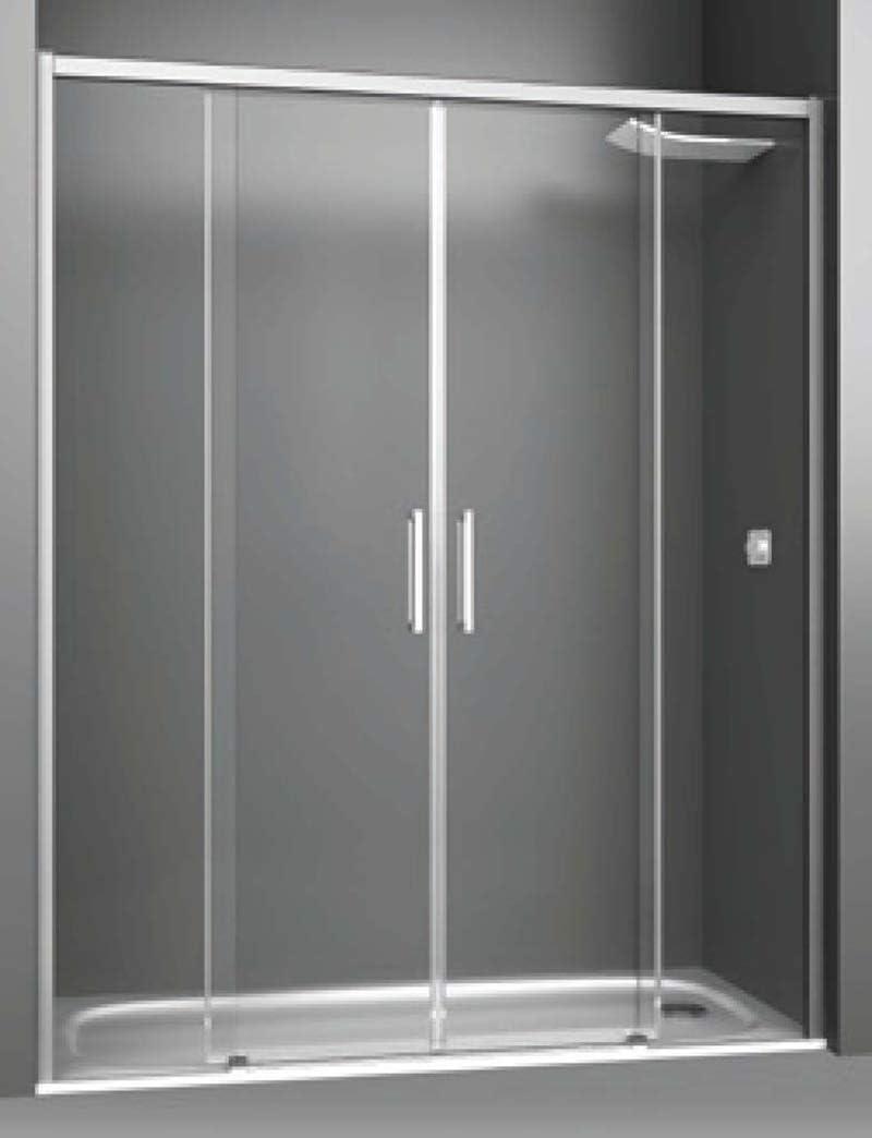 Mampara de Ducha Frontal - 2 Hojas Fijas + 2 Puertas Correderas - Cristal de Seguridad 6 mm - ANTICAL INCLUIDO - Modelo PHENIX 4 - (180-184 cm)