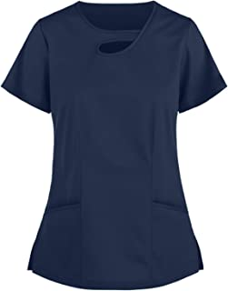 Snakell_Scrubs_Uniforms Ladies V-Neck_Scrub Tops Shirt Tunic Tops Stretch Mock Wrap Shirt Casual Workwear Tops_Scrubs_Unif...