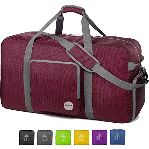 28' Foldable Duffle Bag 80L for Travel Gym Sports Lightweight Luggage Duffel By WANDF (28 inches (80 Liter), Wine Red 28'')