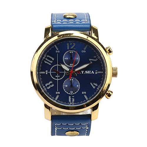 Herren Uhr FGHYH Männer Armbanduhr Military Leather Waterproof Date Quartz Analog Army Men's Quartz Wrist Watches Armbanduhr Uhr(Blau)