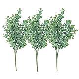 3 Bunches Artificial Plants Plastic Greenery Shrubs UV Resistant Fake Outdoor Plants Faux Eucalyptus for Home Garden Porch Window Box Decoration Floral Arrangement Decoration (3pcs Tender green)