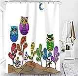 M&W DasDesign Cortina de ducha multicolor con diseño de búhos y flores coloridas para cuarto de baño, cortina de ducha con efecto antimoho lavable incluye 12 anillas en C con peso inferior de 180x200