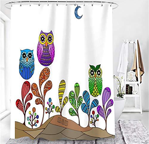 MundW DasDesign Duschvorhang bunt Eule Farbvolle Blumen Pflanzen Badezimmer Textil Vorhang mit Antischimmel Effekt Kaktus Mond waschbar Shower Curtain inkl. 12 C-Ringe mit Gewicht unten 180 x 200 cm