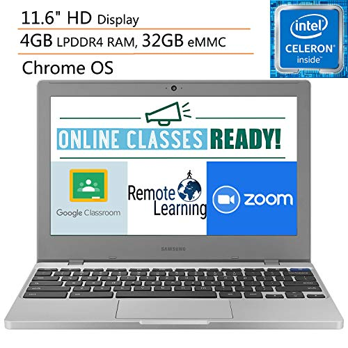 "Samsung Chromebook 4 11.6"" Laptop Computer for Business Student, Intel Celeron N4000 up to 2.6GHz, 4GB LPDDR4 RAM, 32GB eMMC, AC WiFi, Chrome OS, iPuzzle Mousepad + 64GB SD Card, Online Class Ready"