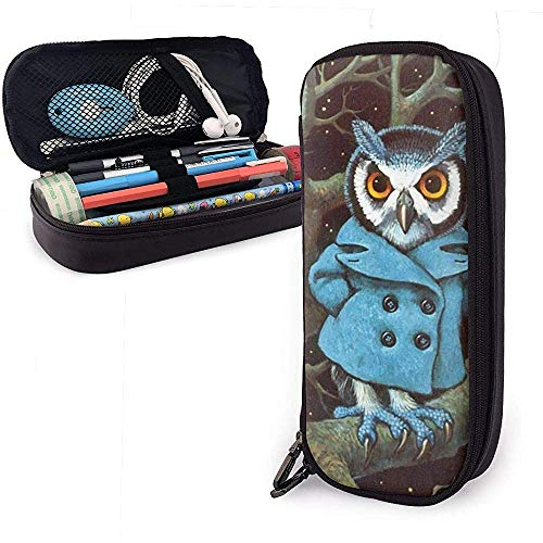 Uil dragen van blauwe pak PU lederen potlood Pen Bag Pouch Case Houder School Office College Coin portemonnee cosmetische make-up tas